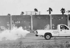 Een wagen van de GGD spuit gif bij het stadion in Otrobanda. FOTO JEU OLIMPIO