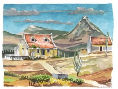 Landhuis Wechi geschilderd door Herman van Bergen
