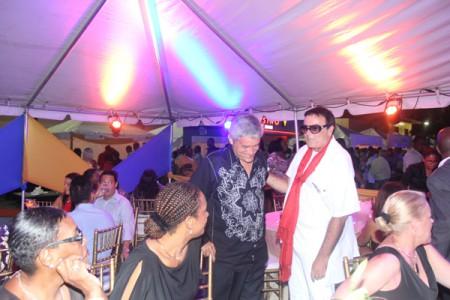 Businesman Francisco Corrallo greeting MP Theodore Heyliger.