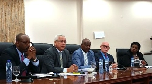 The Council of Ministers during yesterday's press briefing. From left Ministers Connor, Gumbs, Richardson, Hassink and Bourne-Gumbs | Photo Today / Hilbert Haar