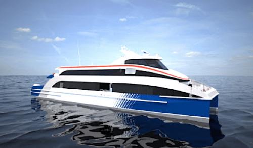 Fast Ferry lijkt in het water te vallen