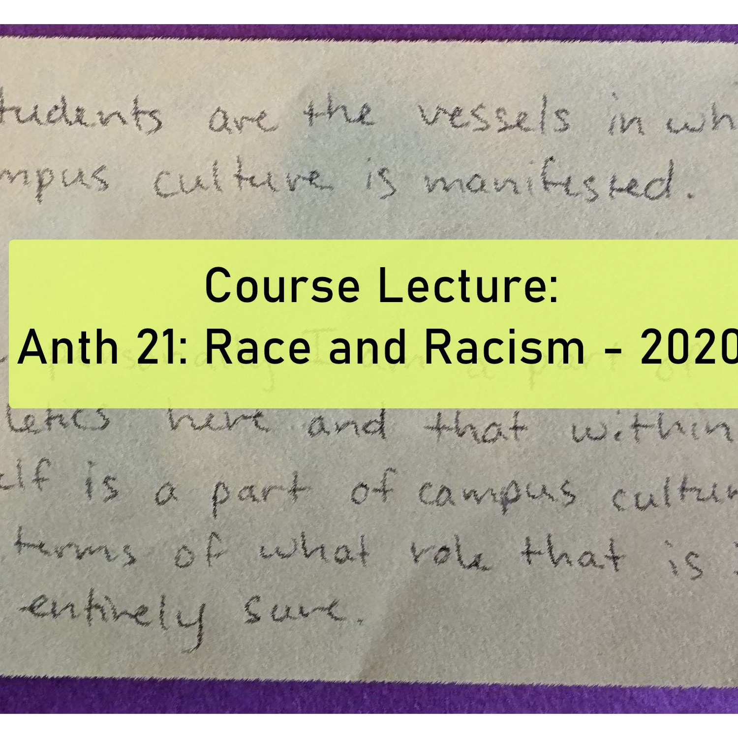 ANTH 21: Race and Racism - 2020