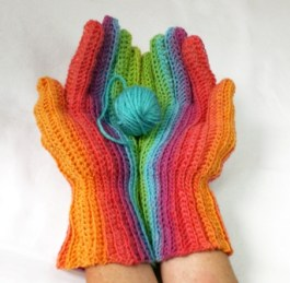 Hand wind the skein into two balls that begin with the same color to get the matching gloves.
