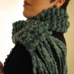 turquoise chunky garter stitch scarf