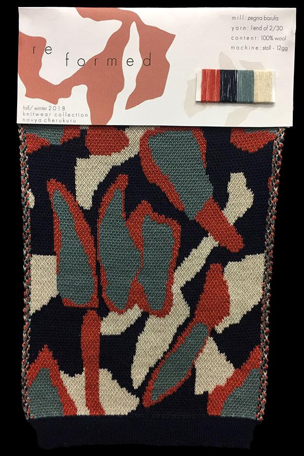 "Designer:Navya Cherukuro-knitGrandeur: FIT & Filati Biagioli and Baruffa Collaboration 2017: Double Jacquard Project Featuring Biagioli ""Cash 30"""
