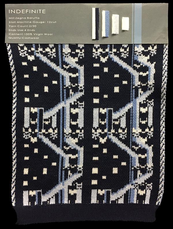"Designer: Shyama Wang-knitGrandeur: FIT & Filati Biagioli and Baruffa Collaboration 2017: Double Jacquard Project Featuring Biagioli ""Cash 30"""