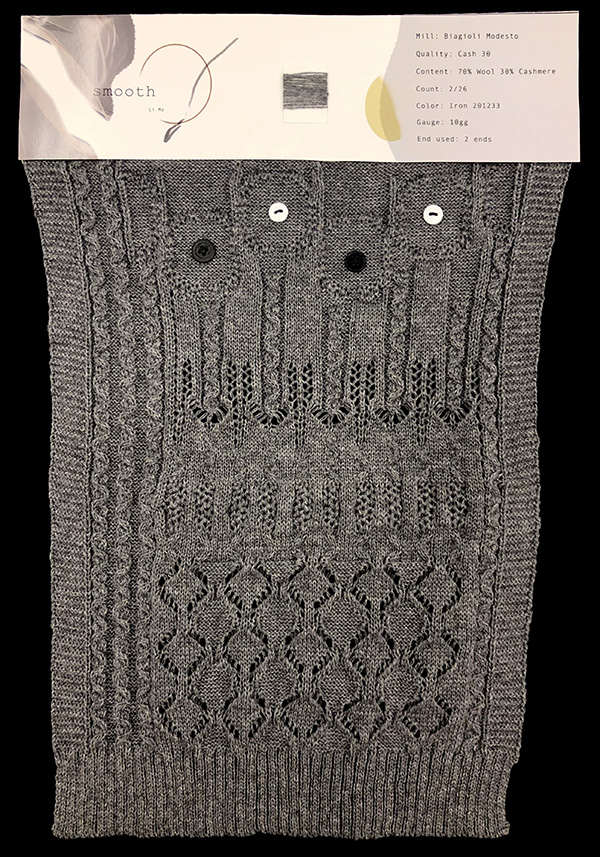 knitGrandeur: Designer: Li Mo- FIT & Biagioli Collaboration 2019: Linear Stitch Design Project