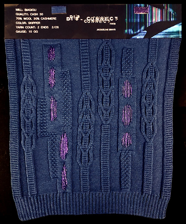 Designer: Jacqueline Bravo- knitGrandeur: FIT & Biagioli Collaboration 2019: Linear Stitch Design Project