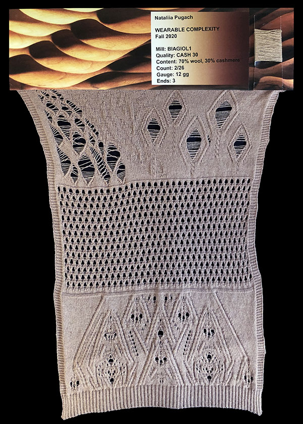 knitGrandeur: Designer: Nataliia Pugach - FIT & Biagioli Collaboration 2019: Linear Stitch Design Project