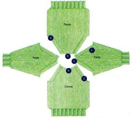 вязание рукава реглана