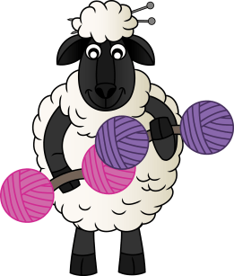 KniticalTherapy Knitical Therapy Logo Sheep Yarn Dumbells Knitting Potcast