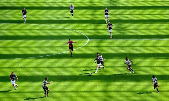 football field as knitted fabric