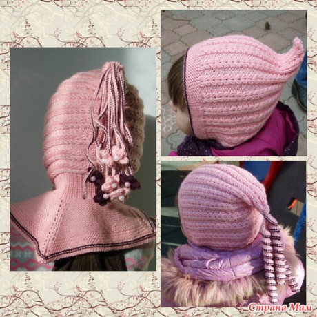 шапка для девочки узором фисташки