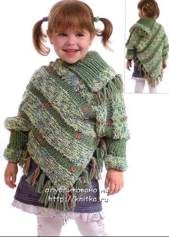 Comment tricoter Poncho triangulaire avec gorge, photo № 29