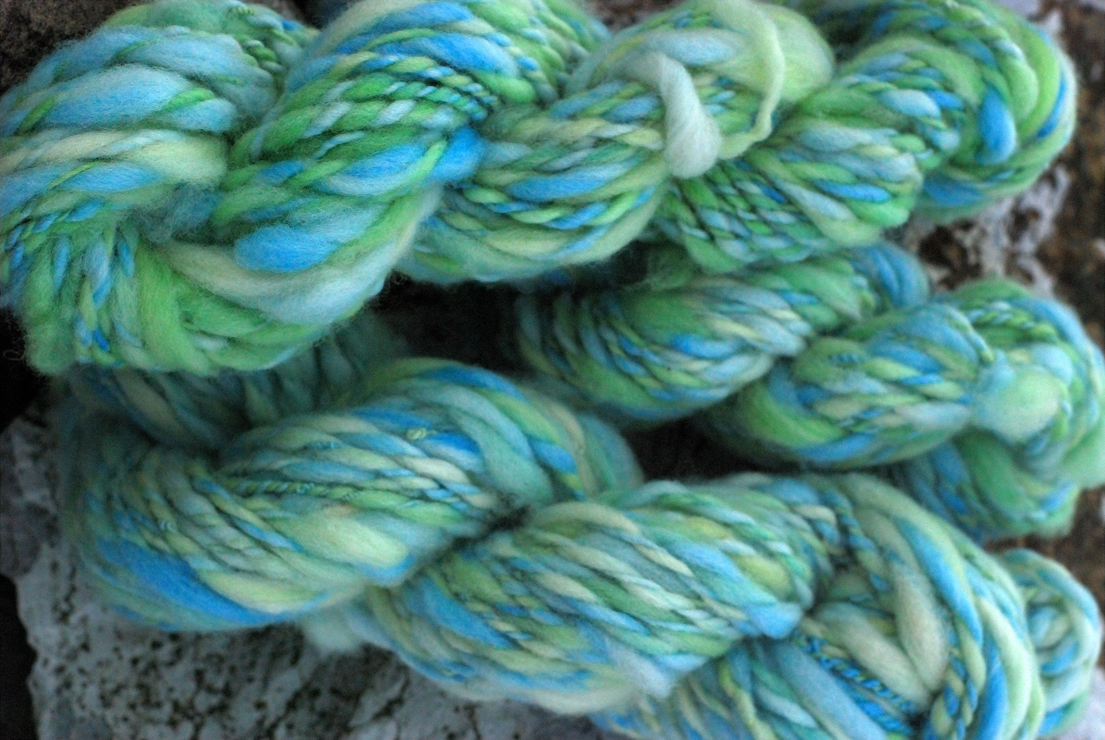 Bulky yarn that looks like ocean water