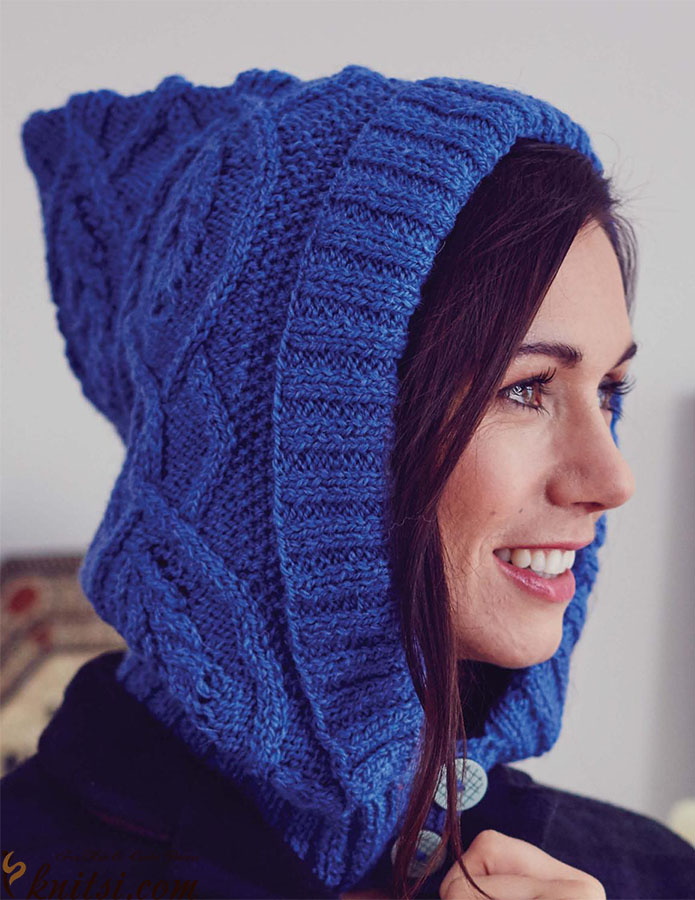 Cable hood hat knitting pattern