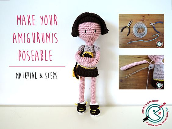 Pin Ups and Link Love: How to Make AMigurumi Poseable| knittedbliss.com