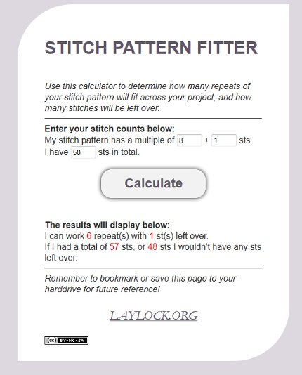 stitch pattern calculator