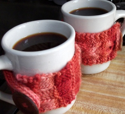Knit Coffee Cozies for Him and Her