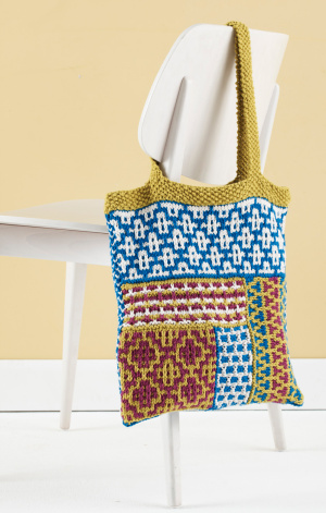 knit this cool mosaic bag from lion brand yarn