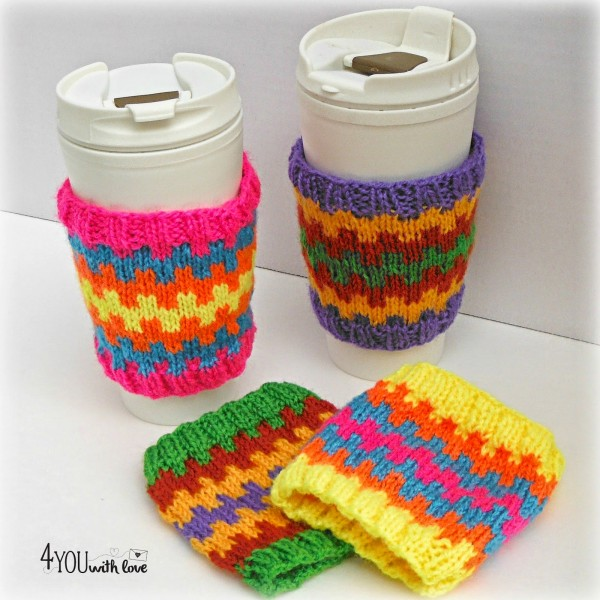 Knit these adorable, colorful coffee cozies with Lion Brand Bon Bons.