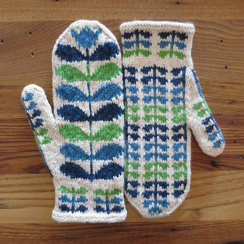 Knit mittens inspired by designer Orla Kiely