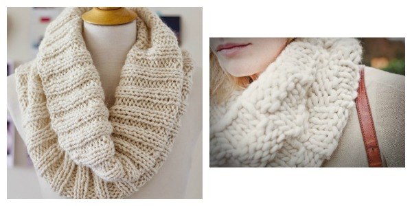 Knit cozy cowls in winter white and fun bulky yarns.