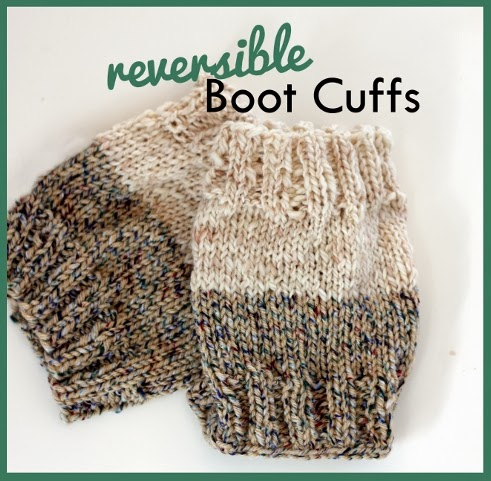 Knit these reversible boot cuffs and you'll have to options for keeping warm in one.