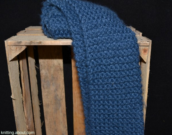 This garter stitch scarf is an easy knit to make into a kit for a new knitter