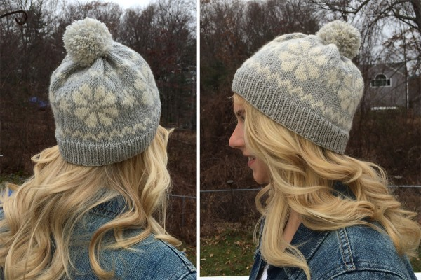 Knit a snowflake hat to ward off the flurries.