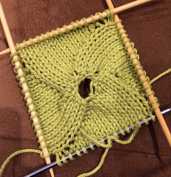 Knit a swirly sqaure from the center out.