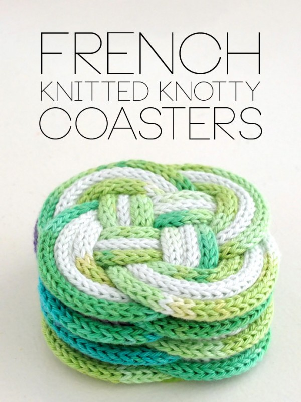 french knit knotted coasters