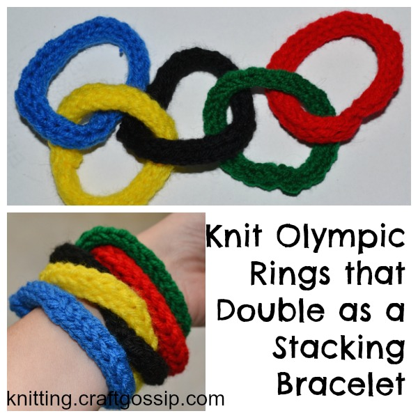 Knit Olympic rings that can be a stacking bracelet