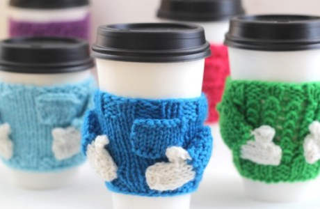 Easy Knit Gift: Coffee Cozy Sweaters