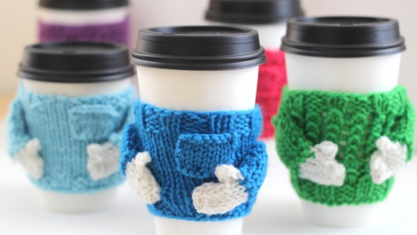 Coffee cozy sweaters are a great quick gift knit.