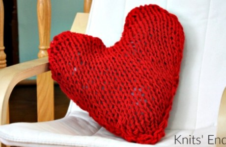 Knit a Heart Shaped Pillow for Valentine's Day