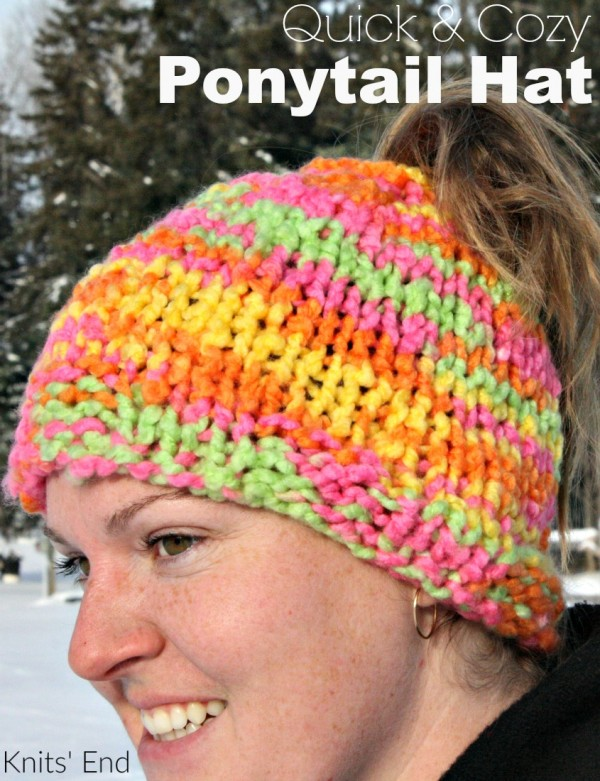 Knit a super simple ponytail hat worked flat.
