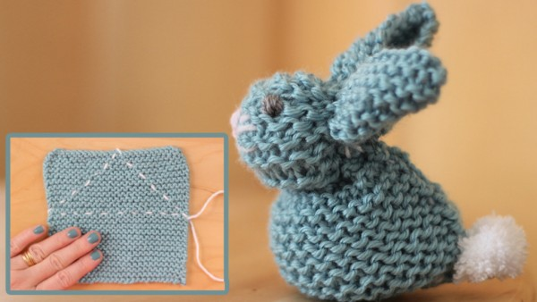 Make a Bunny from a Square of Knitting