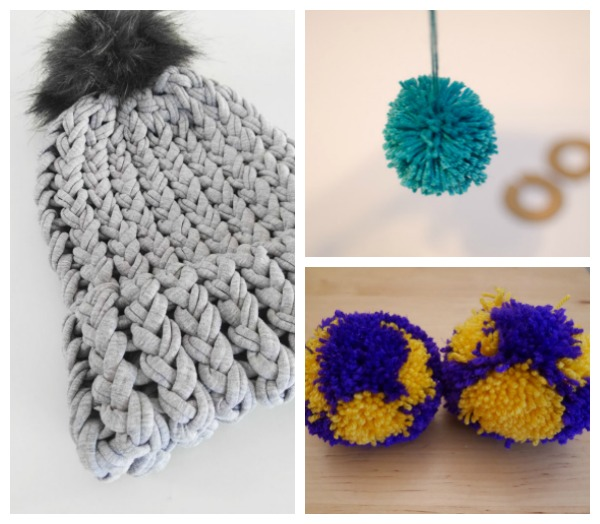 ideas for making and using pom-poms on knitting projects.