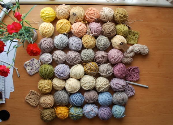 How to dye yarn with natural materials.