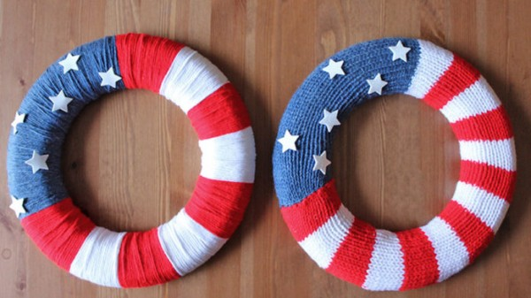 Knit Or Not This Patriotic Wreath