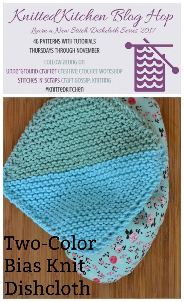 two tone bias knit washcloth