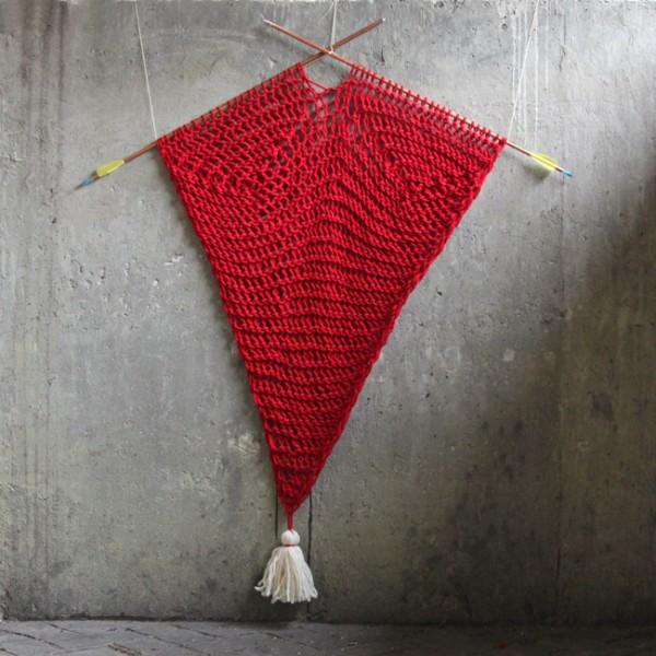 knit heart wall hanging