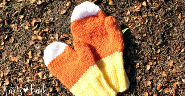 knit candy corn mittens for kids