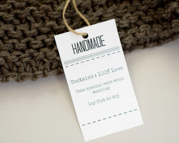 handmade gift tag with washing instructions