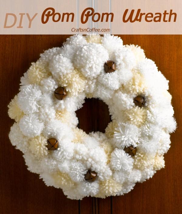 diy pom-pom wreath and ways to make pompoms.