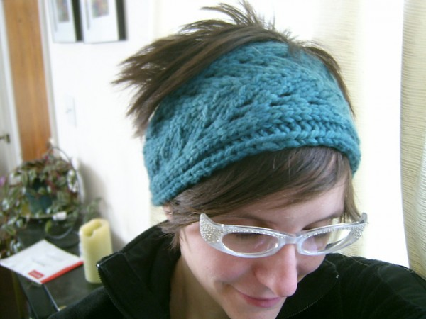 blue leaf headband easy gift knit