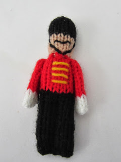 knit toy soldier christmas ornament