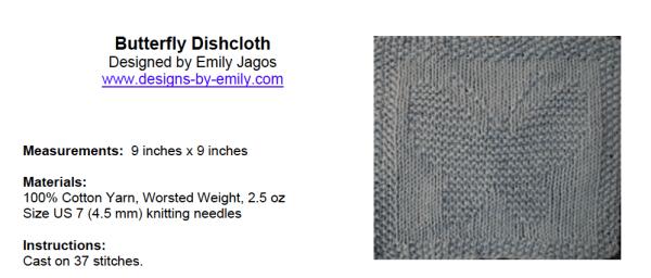butterfly dishcloth knitting pattern