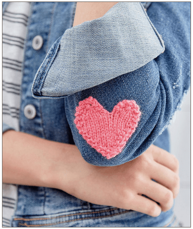 easy knit heart applique for valentine's day